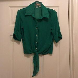 Sheer green button down shirt!